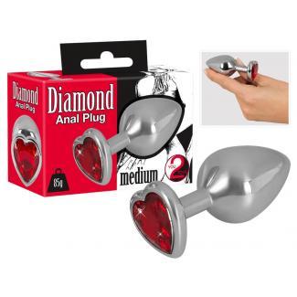Diamond 85g Aluminum Dumbbell - dildo (červeno-strieborné)-1