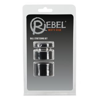 Rebel Ball - sada krúžkov na penis - čierna farba (trojdielna)-1