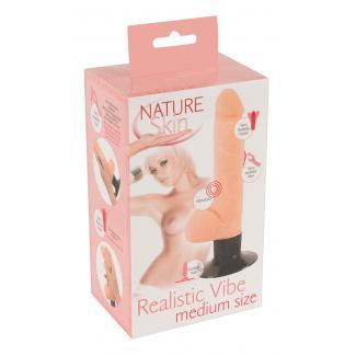 Nature Skin Realistic Vibe M – realistický vibrátor so semenníkmi a prísavkou (telová farba)-1