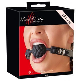 Bad Kitty - silikónová gulička do úst (čierna)-1