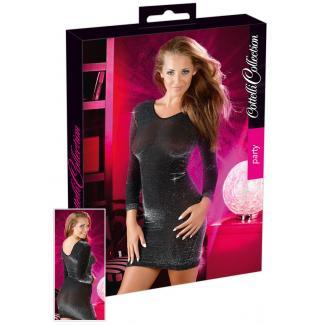 Lesklé šaty - čierne/strieborné-1