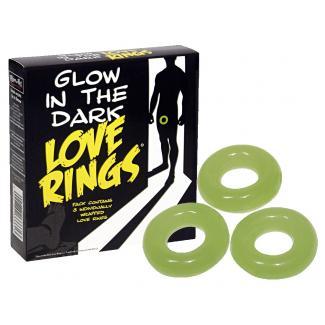 Spencer & Fleetwood Glow in the dark Love Rings - súprava v tme svietiacich krúžkov na penis (3ks)-1