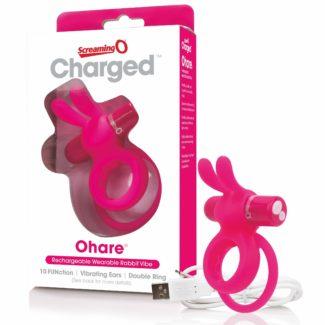 Screaming Charged Ohare - nabíjací krúžok na penis so zajačikom (ružový)-1