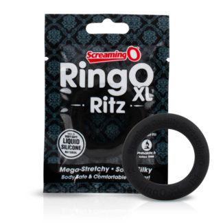 Screaming O Ritz XL - silikónový krúžok na penis (čierny)-1