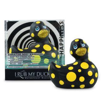 My Duckie Happiness 2.0 - vodotesný vibrátor na klitoris - bodkovaná kačička (čierno-žltá)-1
