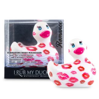 My Duckie Romance 2.0 - vodotesný vibrátor na klitoris - kačička so srdiečkami (bielo-ružová)-1